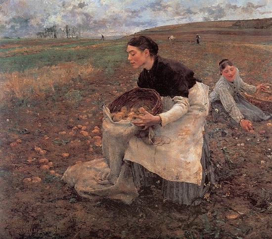 """Cuadro de """"La cosecha de papa"""", del pintor francés Jules Bastien-Lepage (1868 -1916) - La brutal patata y sus consecuencias"""