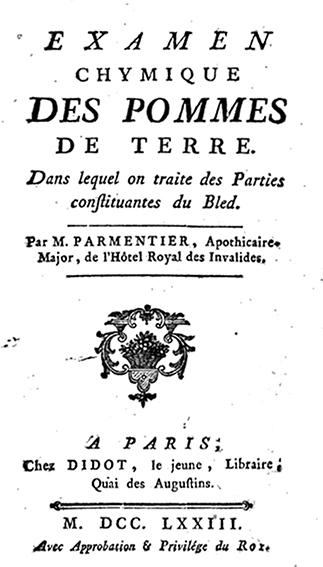 Examen químico de las patatas por M. Parmentier