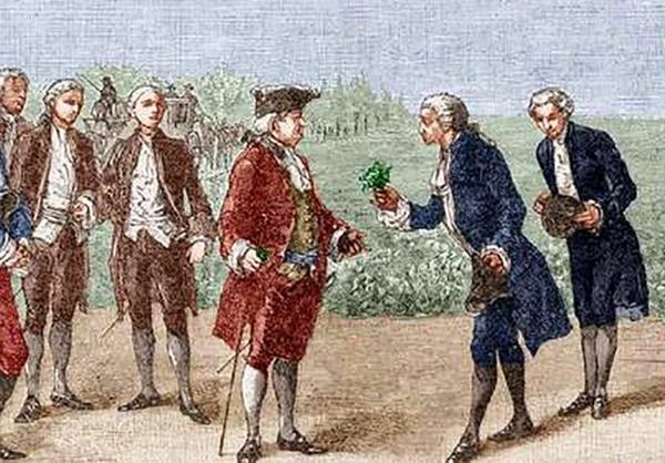 Antoine Parmentier hablando con Luis XVI sobre el cultivo de la patata - La brutal patata y sus consecuencias