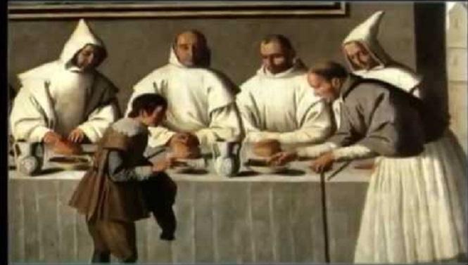 Frailes en el hospital de Sevilla alimentando a indigentes - La brutal patata y sus consecuencias