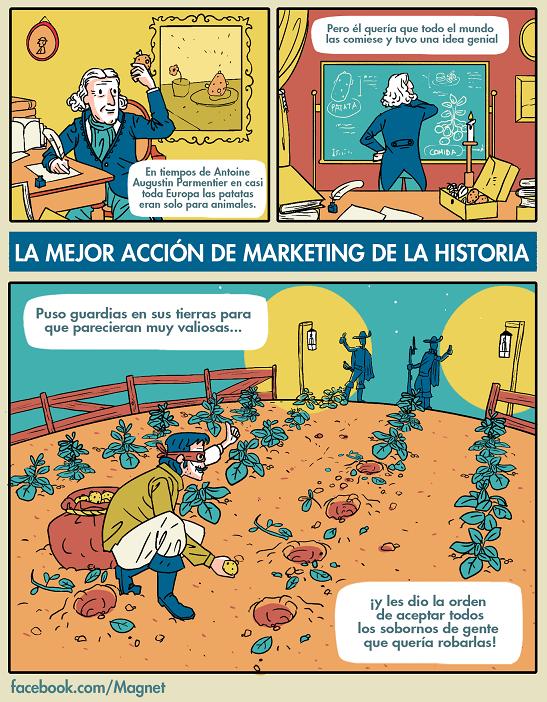 Antoine de Parmentier viñeta de su idea de marketing - La brutal patata y sus consecuencias