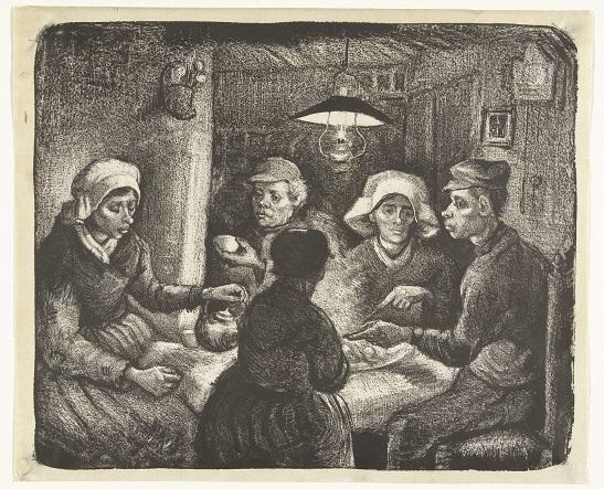 Familia humilde comiendo patatas en su mesa