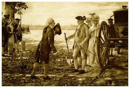 Grabado de la época: Antoine Parmentier hablando con Luis XVI